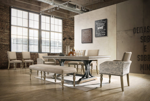 Birmingham Nailhead 8-Piece Table with Nail Head Bench and Arm Chair Dining Set, Driftwood