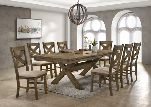 Raven Wood Dining Set: Butterfly Leaf Table, Eight Chairs
