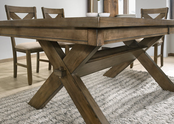 Raven Wood Dining Set: Butterlfy Leaf Table, Four Chairs, Bench