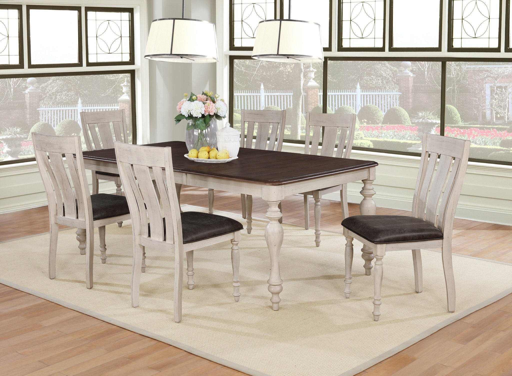 Arch Weathered Oak Dining Set: Table with Extension Leaf, Six Chairs