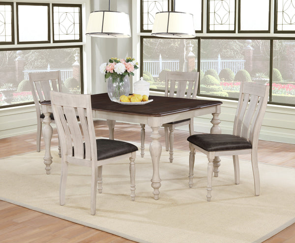 Arch Weathered Oak Dining Set: Table with Extension Leaf, Four Chairs