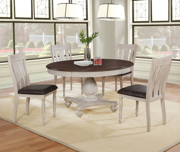Arch Weathered Oak Dining Set: Round Table, Four Chairs