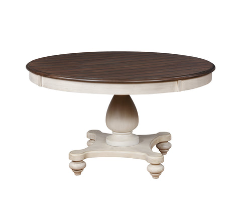 Arch Weathered Oak Round Dining Table with Pedastal Base
