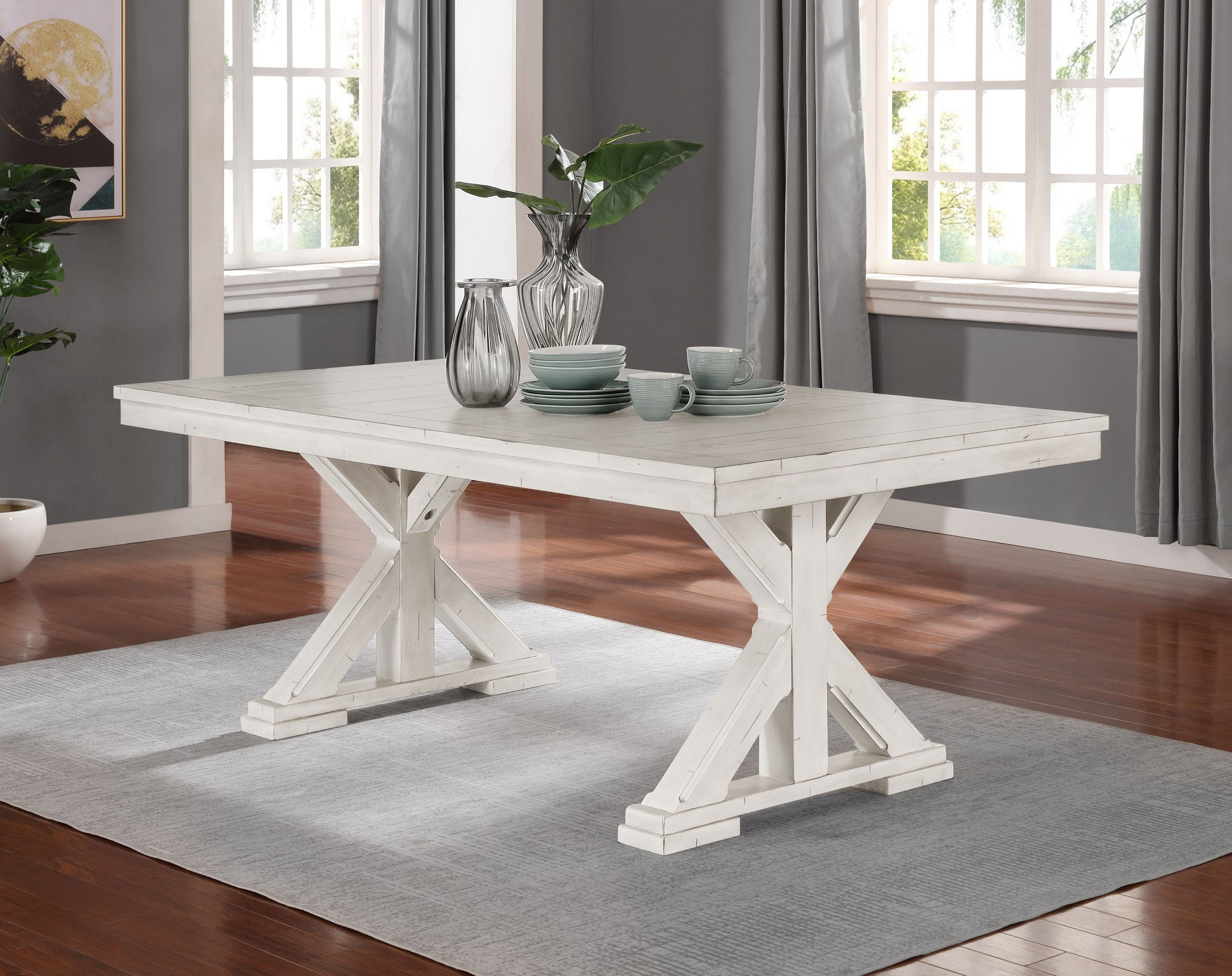 Florina Antique White Wood Trestle Dining Table