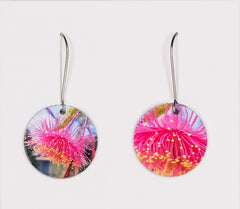 Gum blossom earrings - photograph printed on aluminium