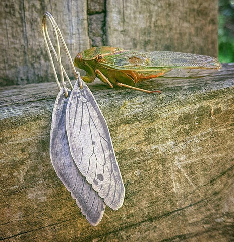 Sterling Silver Cicada Wing Earrings by Elkame Emporium for Stylish Australiana