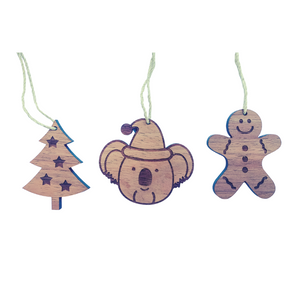 Australian Christmas decorations set of three in native hardwood