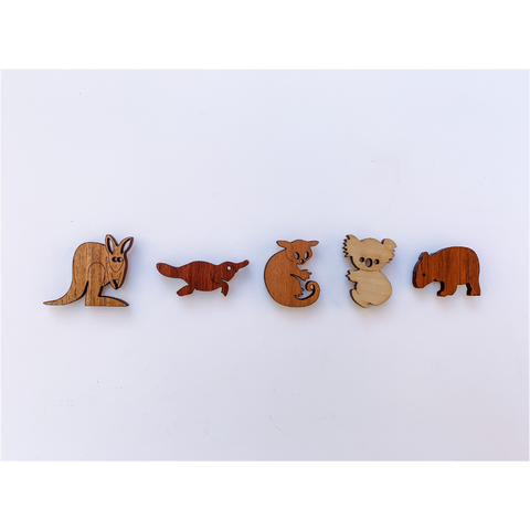 Australian animal magnets in native timbers