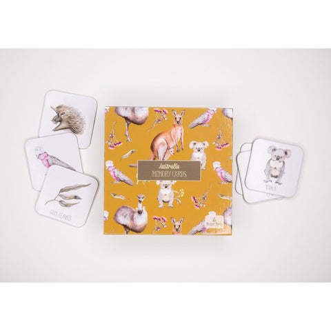 Native Australian animals memory card game in luxe gift box
