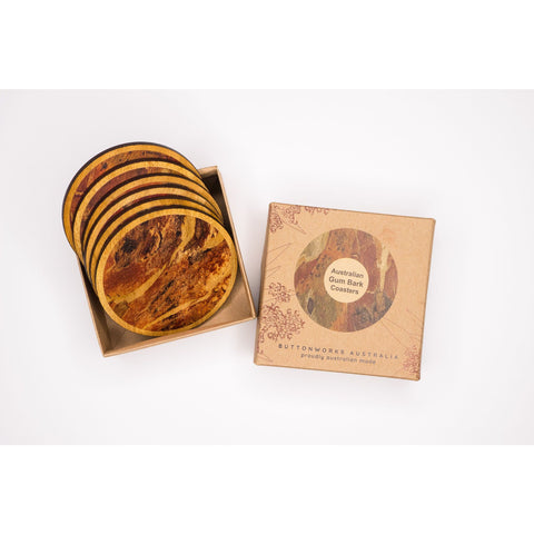 Native Australian Timber bark coasters in gift box