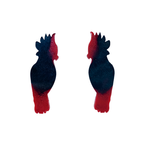 Black and red cockatoo resin earrings
