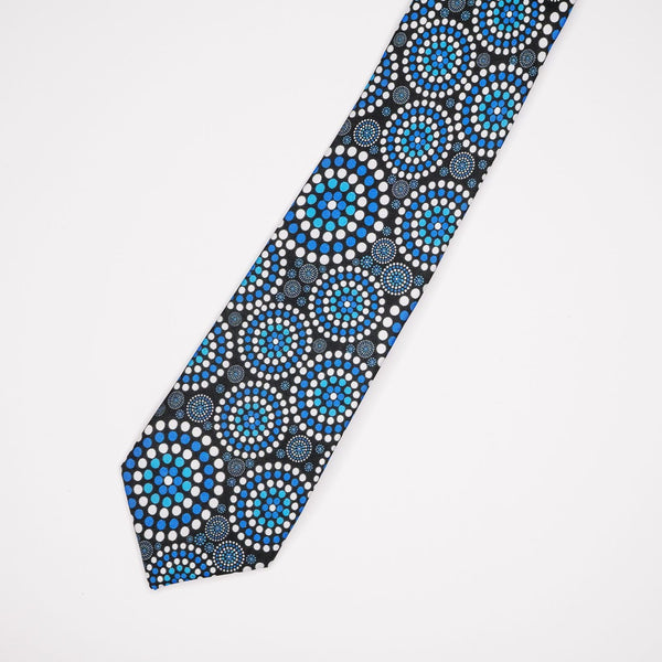 Australian mens tie with blue Indigenous design