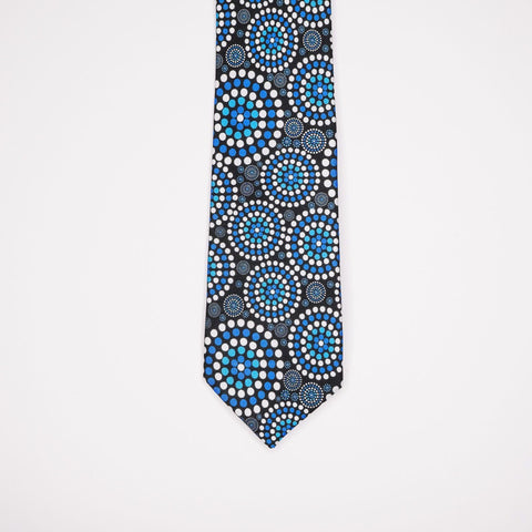 Blue men's silk tie with Indigenous designs