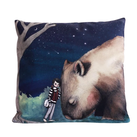 Giant Wombat and Boy Cushion Cover - Stylish Australiana - Ethical Australian Gifts and Souvenirs