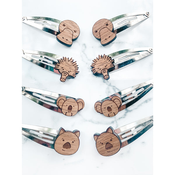 Chlidrens hairclips with native Australian animal faces in native hard wood