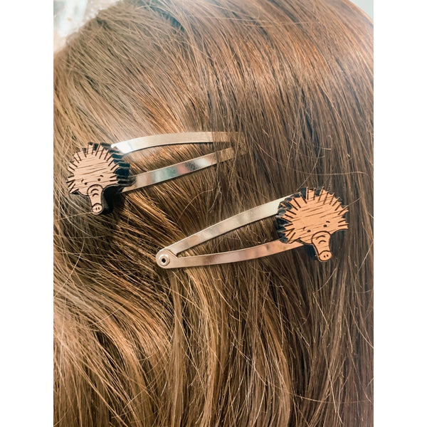 Echidna hairclips in native Australian timber