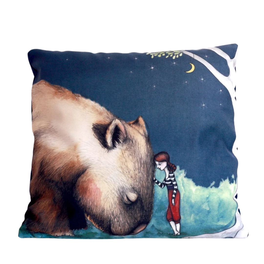 Gifts from Australian giant wombat cushion cover whimsical childrens gift from Australia