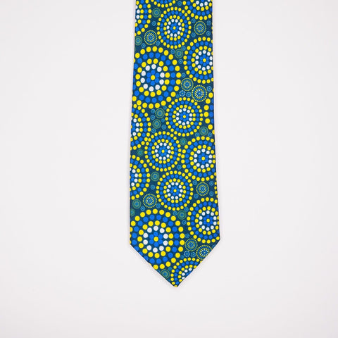 Australian mens tie with green Indigenous design