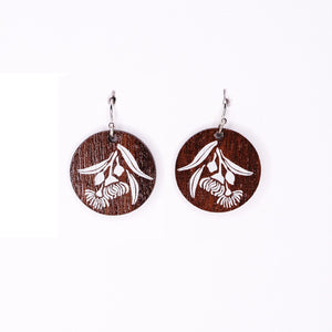Native timber earrings with gum blossom design ideal Australian souvenir