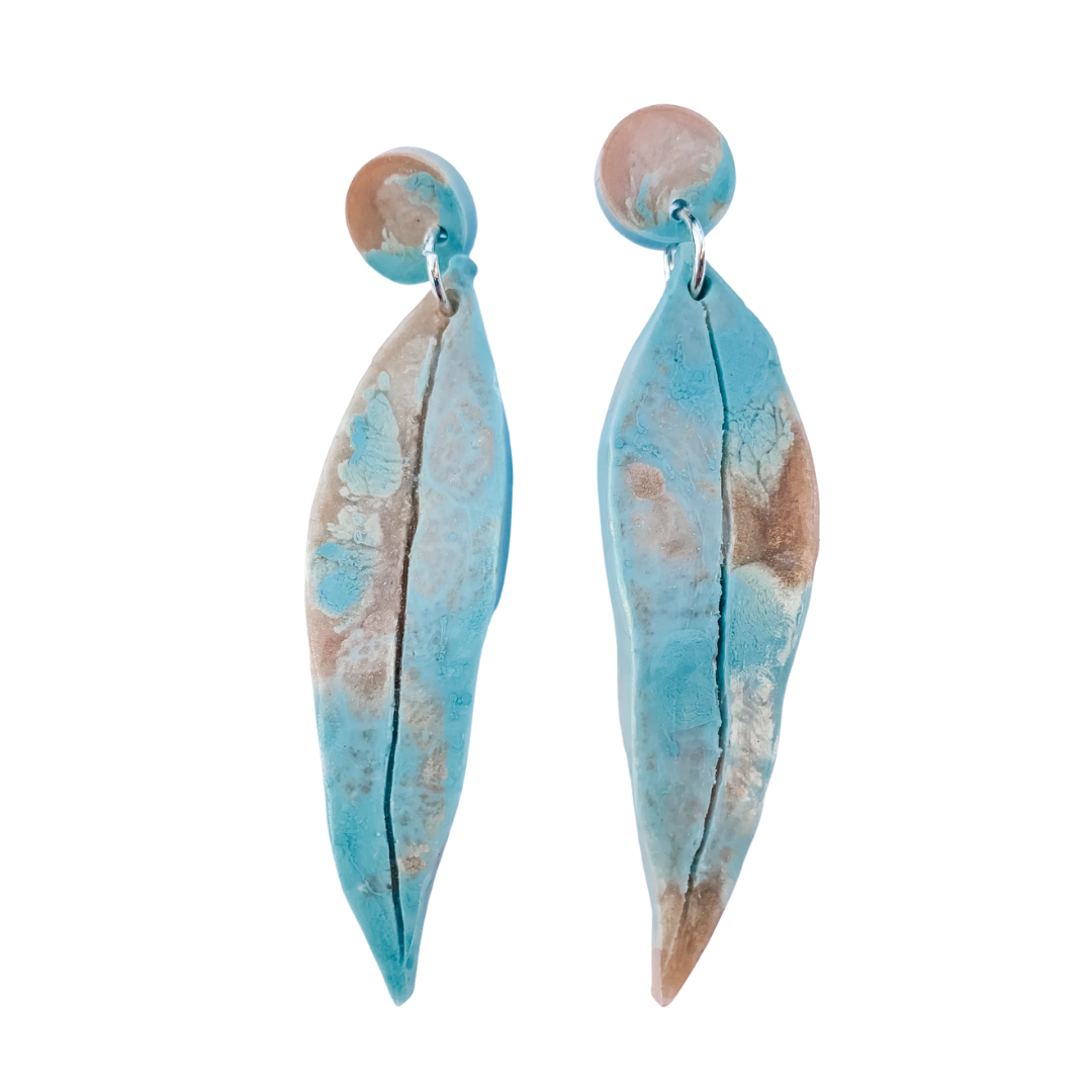Eucalyptus gum leaf earrings Australian jewellery