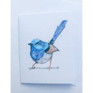 Native Australian bird fairy wren greeting card