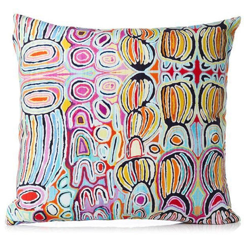 Australian made cotton cushion cover with licensed art work by Aboriginal artist Judy Watson