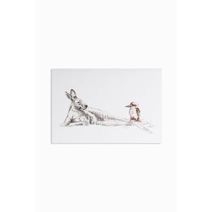 Greeting card - Kangaroo & Kookaburra - Stylish Australiana - Ethical Australian Gifts and Souvenirs