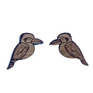 Australian souvenir earrings kookaburra studs in native timber