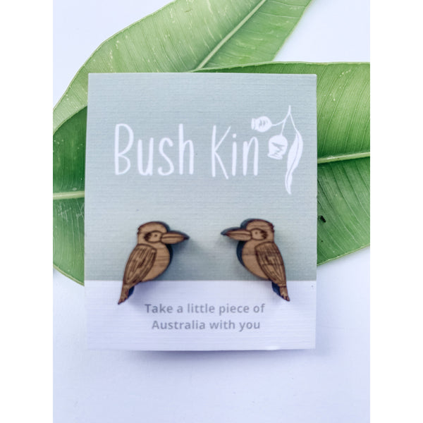 Native Australian timber earrings kookaburras