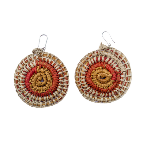 Large gunga (woven pandanus) earrings - cream, red and ochre