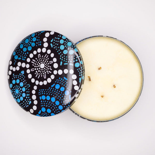 Australian candles in reusable candle tins with Indigenous designs