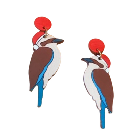 Kookaburras in Santa hats - Australian christmas earrings