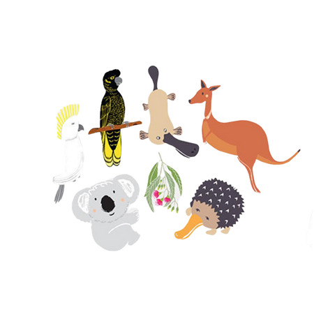 Native Australian Animals fabric decal wall stickers