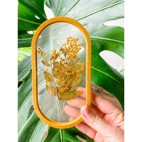 Golden wattle in clear resin trinket tray