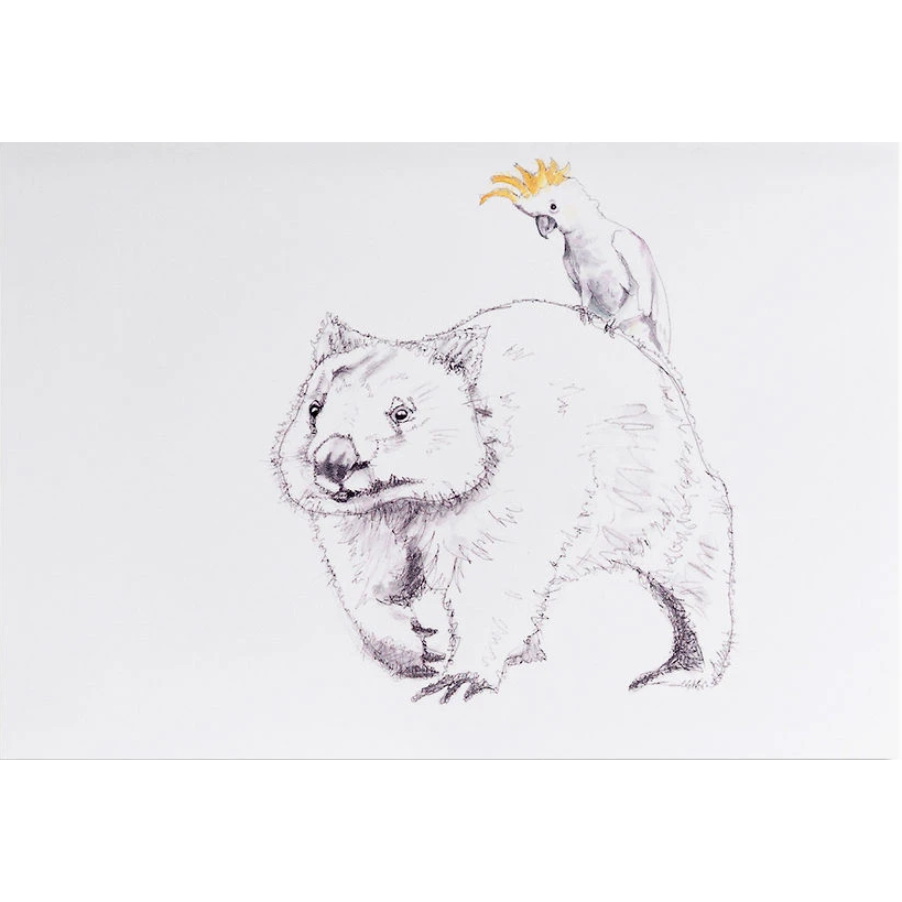 Greeting card - Wombat & Cockatoo - Stylish Australiana - Ethical Australian Gifts and Souvenirs