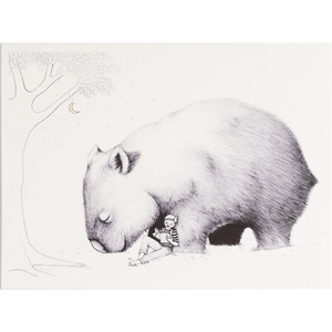 Greeting card - Boy with Giant Wombat - Stylish Australiana - Ethical Australian Gifts and Souvenirs