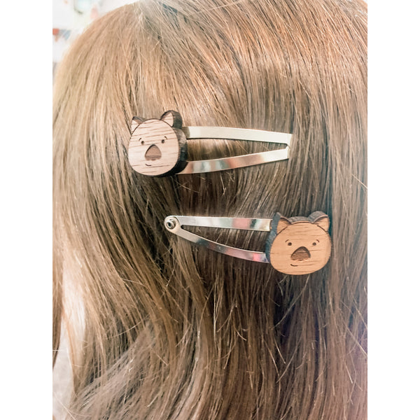 Wombat hairclips in native Australian timber