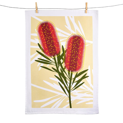 Bottle Brush Tea Towel - Stylish Australiana - Ethical Australian Gifts and Souvenirs