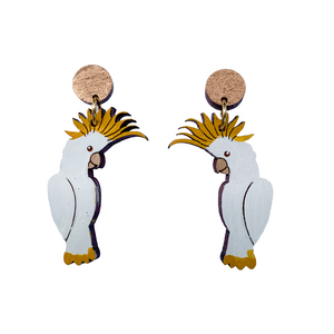 Native timber cockatoo earrings