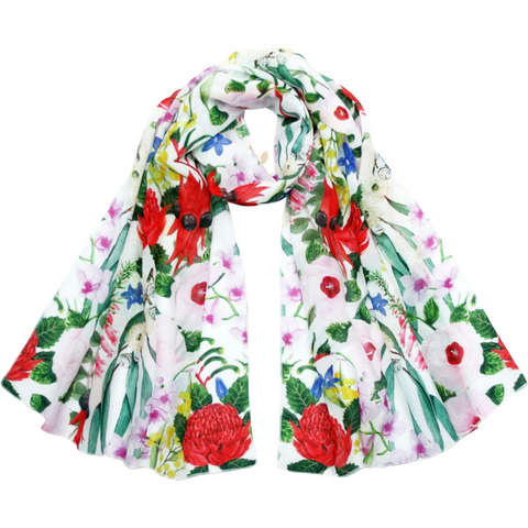 Australian Floral Emblems Scarf - Stylish Australiana - Ethical Australian Gifts and Souvenirs