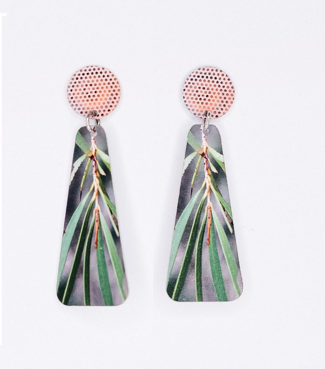 gum leaf photo statement earrings