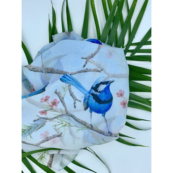 Blue Fairy Wren Scarf - Stylish Australiana - Ethical Australian Gifts and Souvenirs
