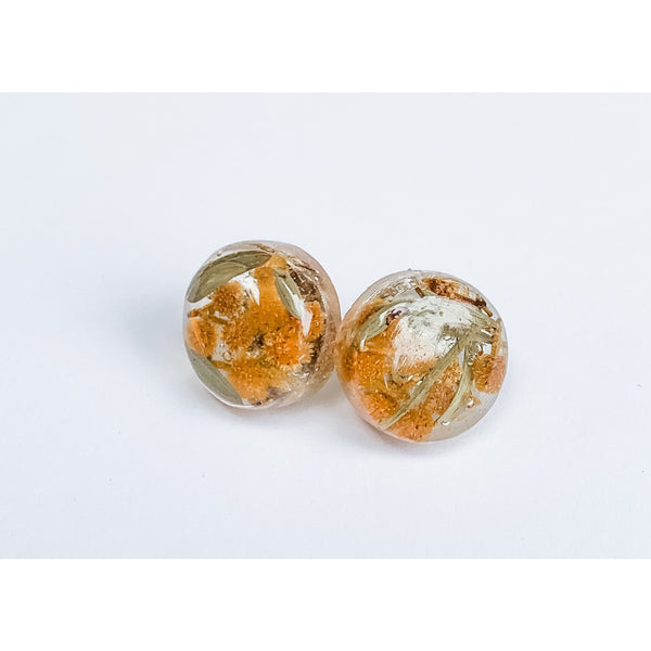 Wattle earrings - Australia's national flower in resin stud earrings
