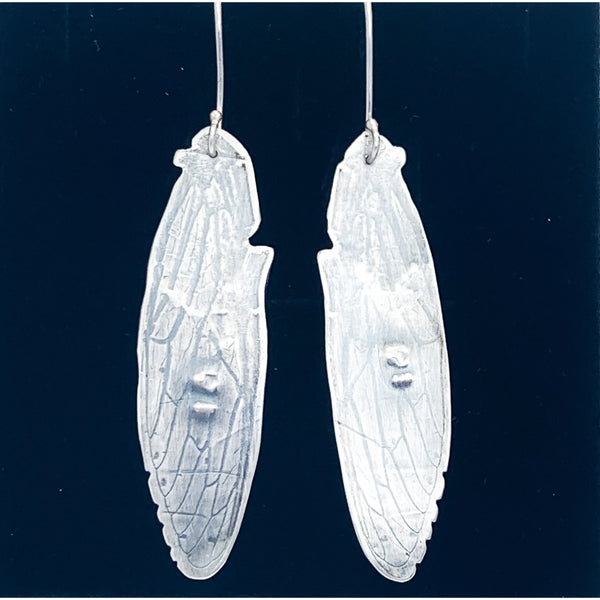 hand smithed silver cicada wing earrings