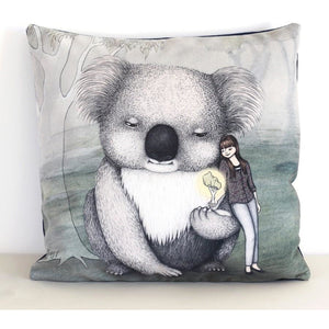 Giant koala with girl cushion cover - Stylish Australiana - Ethical Australian Gifts and Souvenirs