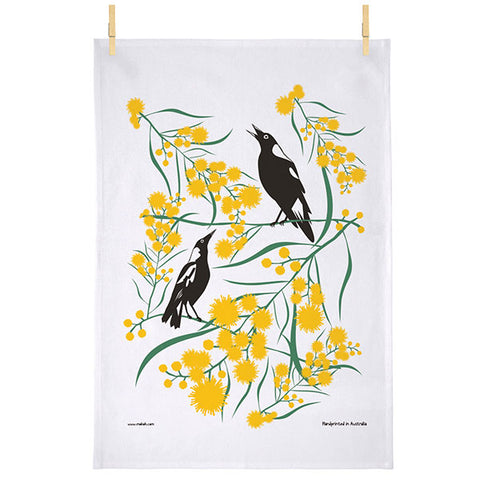 Magpie and Wattle Tea Towel - Stylish Australiana - Ethical Australian Gifts and Souvenirs
