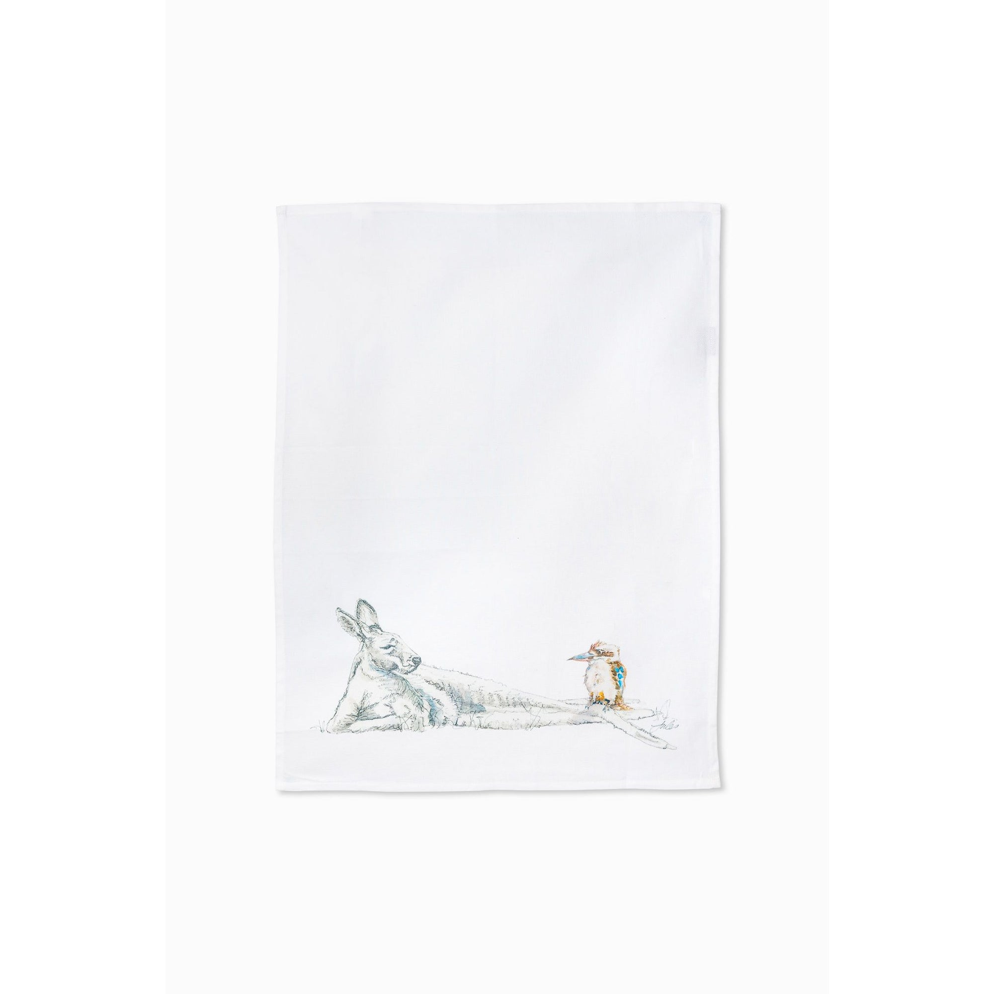 Kangaroo and Kookaburra tea towel - Stylish Australiana - Ethical Australian Gifts and Souvenirs