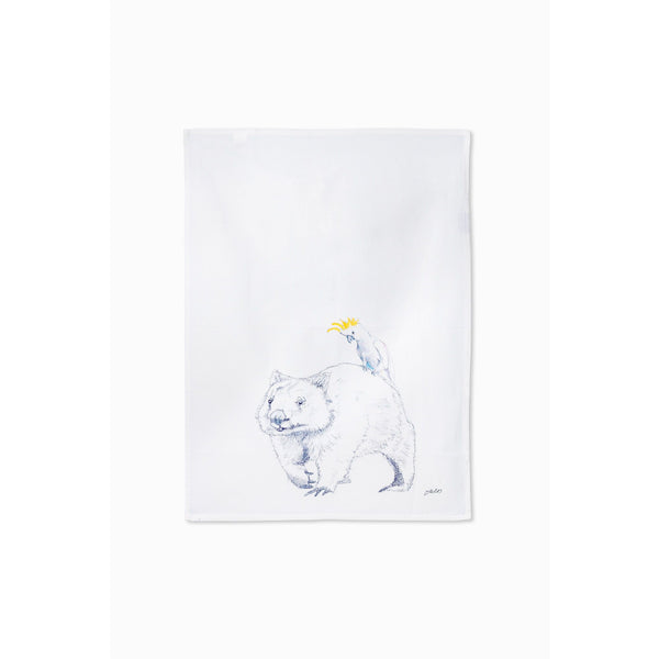 Wombat and Cockatoo tea towel - Stylish Australiana - Ethical Australian Gifts and Souvenirs