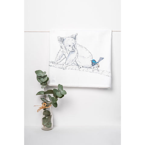 Koala and Blue Wren tea towel - Stylish Australiana - Ethical Australian Gifts and Souvenirs