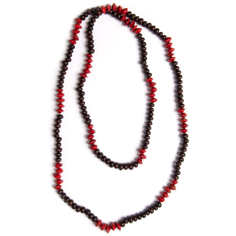 Red and Black matinee length seed necklace - Stylish Australiana - Ethical Australian Gifts and Souvenirs
